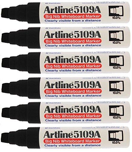 (Artline 5109A Big Nib Extra Large Jumbo Dry Erase Whiteboard Markers (BLACK, Pack of 6) )
