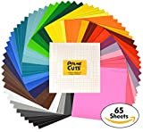 "Arts & Crafts : Permanent Adhesive Backed Vinyl Sheets By PrimeCuts USA - 65 VINYL SHEETS 12"" x 12"" - 65 Assorted Color Sheets for Cricut, Silhouette Cameo, and Other Craft Cutters"