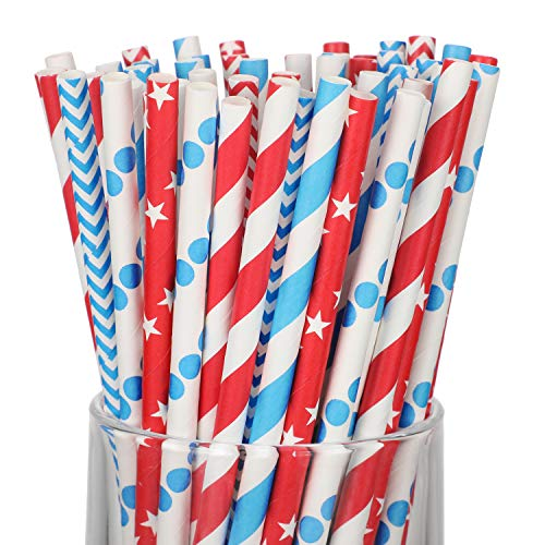 200 Pieces Patriotic Theme Paper Straws Biodegradable Drinking Straws Red and Blue Stripe Dot Paper Straws for Memorial Day 4th of July Independence Day