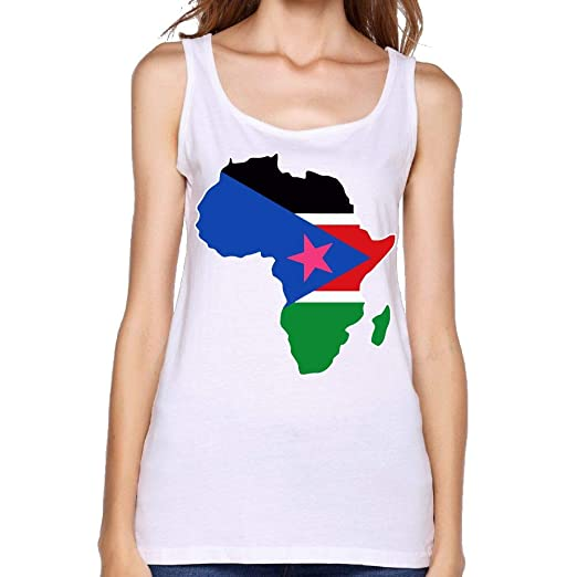 Amazon.com: ZLOO-99 Women\'s South Sudan Flag in Africa Map ...