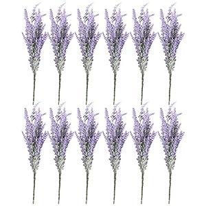 Artificial Lavender Flowers – 12 Bundles Lavender Bouquet in Purple – Fake Flowers Artifical Plant for Home Decor, Wedding, Party, Patio
