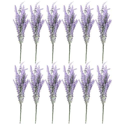 Artificial Lavender Flowers - 12 Bundles Lavender Bouquet in Purple - Fake Flowers Artifical Plant for Home Decor, Wedding, Party, Patio ()