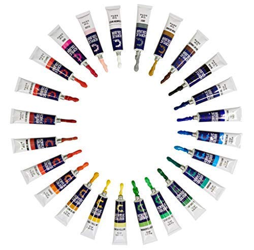 Acrylic Paint Set & Brushes with Rich Pigments in 24 Vivid Colors with 6 Pro Brushes is Great for Intermediate, Advanced and Hobby Painters from Kids Through Adults by Creative Joy (24 Paints) by Creative Joy (Image #4)