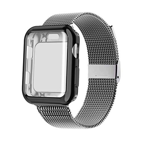 YC YANCH Compatible with Apple Watch Band 38mm with Case, Stainless Steel Mesh Loop Band with Apple Watch Screen Protector Compatible with iWatch Apple Watch Series 1/2/3/4/5 (38mm Space Grey) from YC YANCH