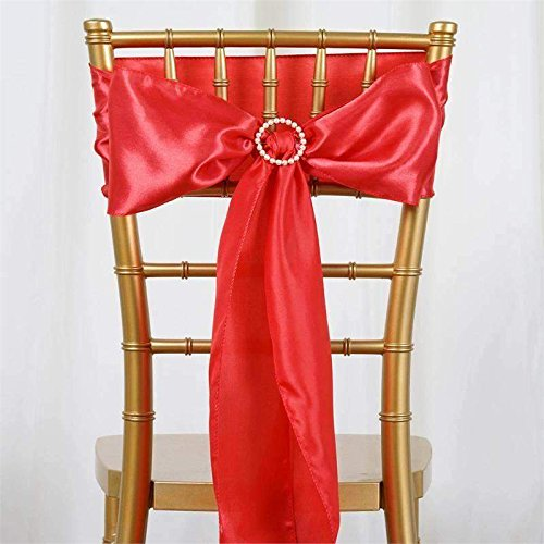 sarvam Fashion Set Of ♥ 50 ♥ Chair Decorative Satin Sashes Bow Designed For Wedding Events Banquet Home Kitchen Decoration (50, Coral) by sarvam Fashion