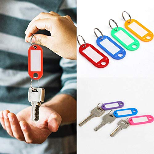 (Acamifashion 100Pcs Mini Plastic Key Fobs Luggage ID Card Name Label Tags Rings Keychains - Random Color)