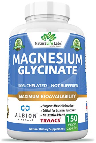 (Magnesium Glycinate 100% Albion Minerals TRAACS Maximum Bioavailability Chelate No Laxative Effect Not buffered Vegan Helps Function of Muscles, Bones, Heart Non-GMO)