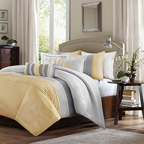 Madison Park Amherst Duvet Cover King Size - Yellow, Grey, Pieced Stripes Duvet Cover Set – 6 Piece – Ultra Soft Microfiber Light Weight Bed Comforter Covers (Cover Stripes Yellow)