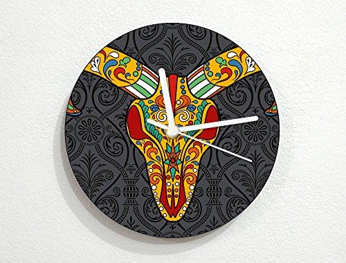 Sugarskulls - Goat Skull - Day Of The Dead - Dia De Los Muertos - Mexican Carnival Holiday - Novelty Gift - Custom Name Wall Clock -
