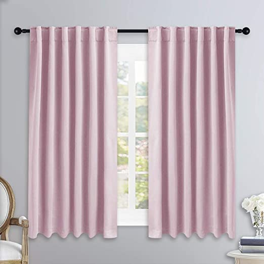 Amazon Com Nicetown Bedroom Draperies Blackout Curtain Panels Lavender Pink Baby Pink Color 52 X 54 Inches Set Of 2 Panels Solid Room Darkening Blackout Drapes For Living Room Kitchen Dining