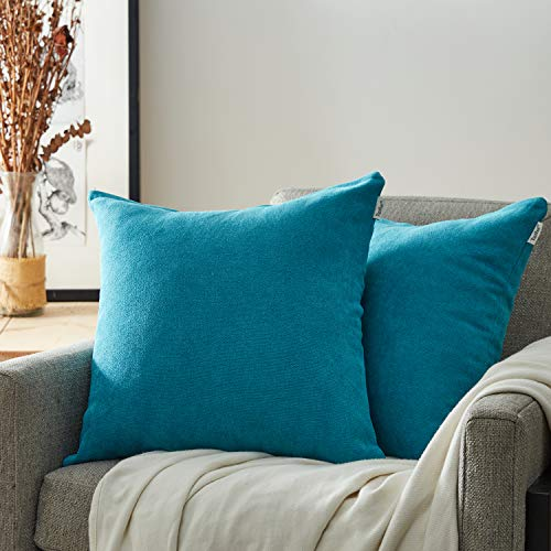Top Finel Square Decorative Throw Pillow Covers Soft Chenille Outdoor Cushion Covers 18 X 18 for Sofa Bed, Set of 2, Teal