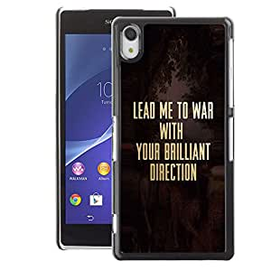 A-type Arte & diseño plástico duro Fundas Cover Cubre Hard Case Cover para Sony Xperia Z2 (War Christ Christian Solider Gold Text)