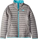 The North Face Kids Girl's Reversible Mossbud Swirl Jacket (Little Kids/Big Kids) Metallic Silver/Blue Curacao Large
