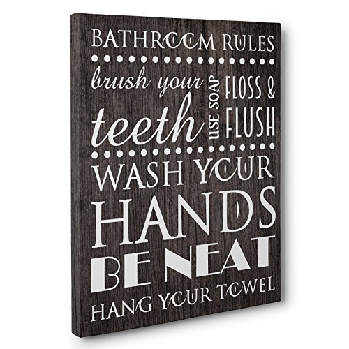 Bathroom Rules Art CANVAS Wall Decoration