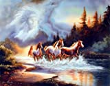 Horse Runs In Lake With Indian Chief Spirit Native American Picture Art Print (8x10)