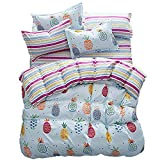 4pcs Magic Bedding Sheet Set One Duvet Cover Without Comforter One Flatsheet Two Pillow Cases Twin Full Queen Size Pineapple Pie Design (Pineapple Pie, Piink, Twin)