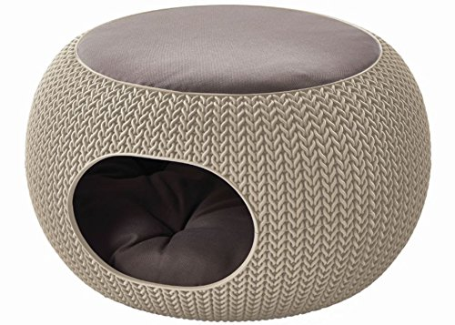 Keter 22.7 x 22.3 x 13 KNIT Cozy Luxury Lounge Bed Pet Home with Cushions, Small to Medium