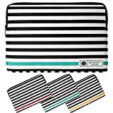 Microsoft Surface Laptop Bag, 13.5'' Vegan Leather Sleeve B/W Stripe Pattern Design Fits Suface Pro 13.5'' Series/Surface Book 13.5'' Series