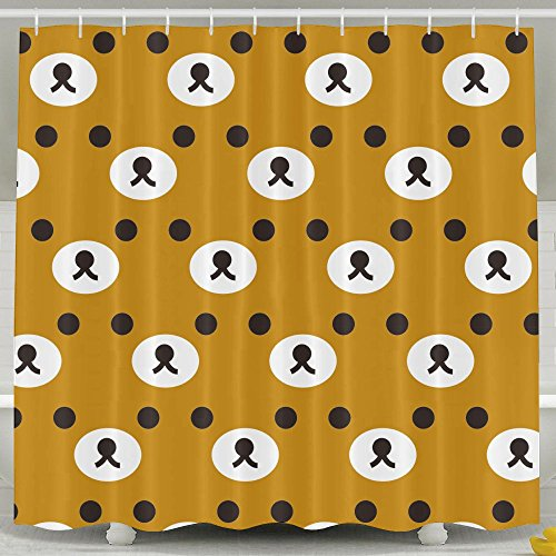 YSCL BATH Rilakkuma Brown Face Bath Curtains Waterproof Polyester Fabric  Decorative Home Bathroom Shower Curtain (60