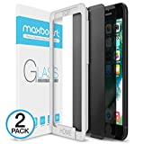 Electronics : iPhone 8 Plus / 7 Plus Screen Protector, Maxboost [Privacy Black,2 Pack] iPhone 8 Plus Screen Privacy Screen Protector Anti-Spy Tempered Glass Screen Premium Anti-Scratch/Fingerprint, Easy Install