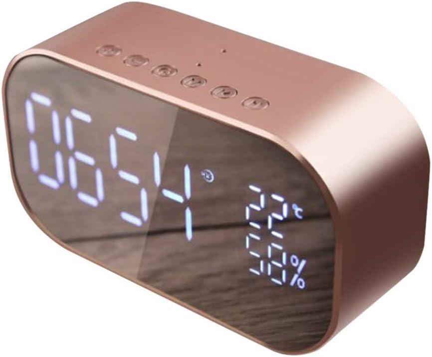 LOVIVER Reloj de Alarma Despertador Digital Altavoz Estéreo Inteligente Control Tecnología Bluetooth 4.2 - Oro Rosa