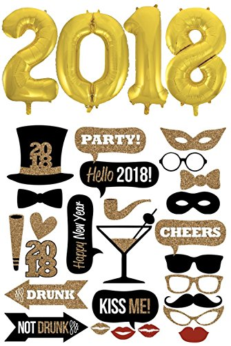 New Year's Photo Booth Props, 2018 Party Props Photo Booth, Black and Gold Photo Props, New Year's Party, NYE Party, black and gold decoration set, Bonus 2018 gold foil - Creating Your Booth Photo Own