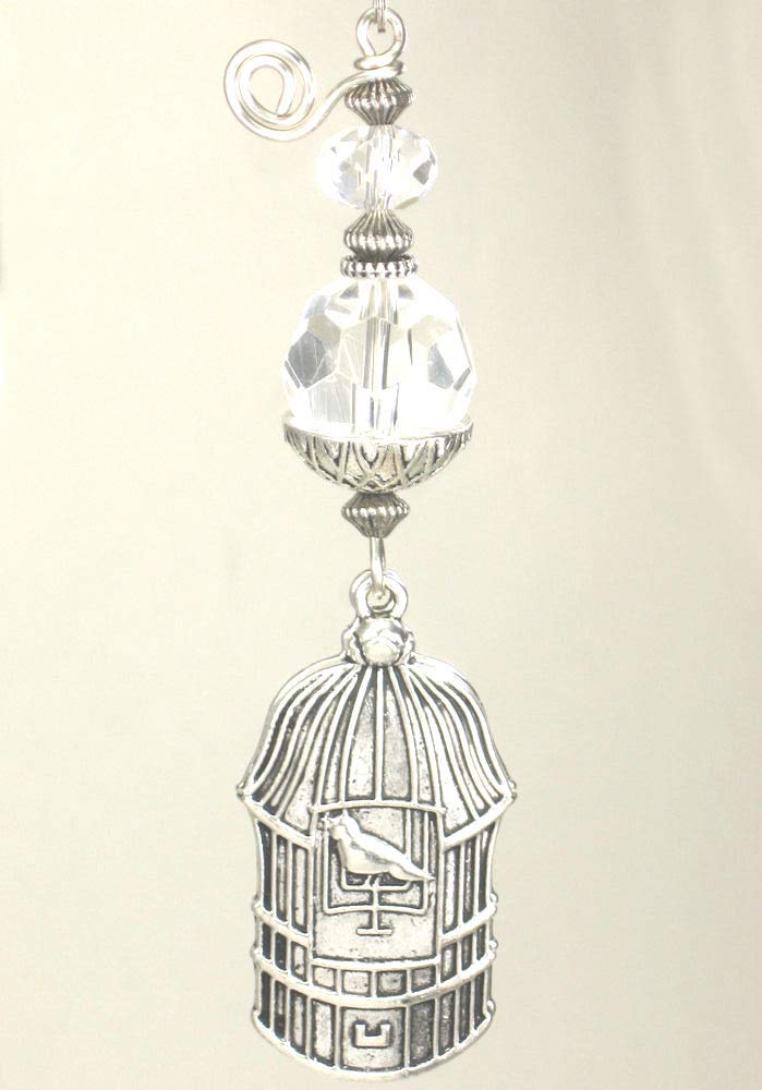 Silvery Double-Sided Birdcage with Clear Glass Ceiling Fan Pull