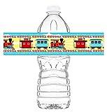 POP parties Train Party Waterproof Bottle Wraps - 20 Train Water Bottle Labels - Train Party Decorations - Train Party Supplies - Chugga Bottle