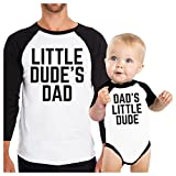 365 Printing Little Dude Funny Matching Baseball Shirts Gifts For Dad and Son