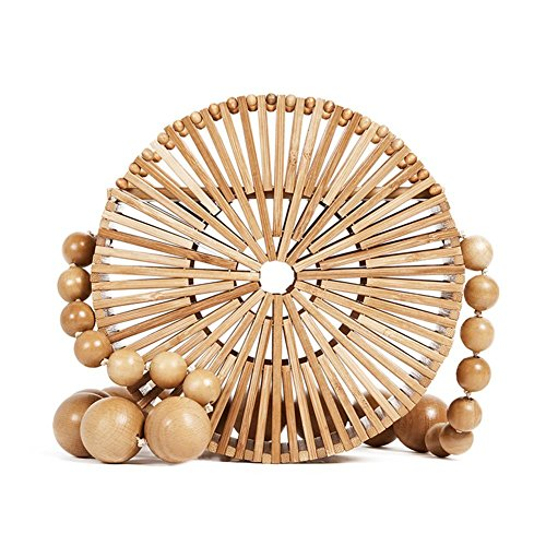 Women Bamboo Round Shoulder Handmade Bag Beach Evening Handbag L Clutches Bags q1wO15a