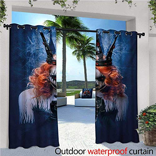 homehot Queen Balcony Curtains Queen of Death Scary Body Art Halloween Evil Face Bizarre Make Up Zombie Outdoor Patio Curtains Waterproof with Grommets W84 x L84 Navy Blue Orange Black ()