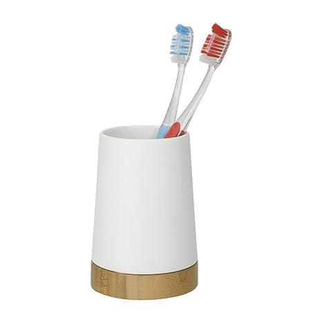 Wenko 17675100 Bamboo - Vaso de cerámica para cepillos de dientes (8,5 x