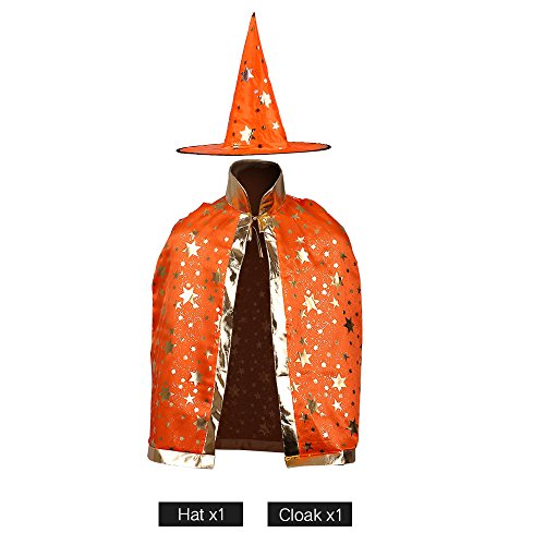Wizard Cloak Costume (Children Costumes Stars Style for Halloween and Christmas Sorcerer/Witch Costume with Hat and Cloak (Orange))