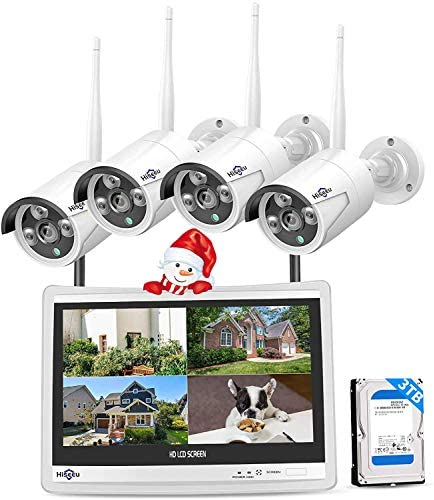 "Hiseeu [8CH Expandable] All in a single with 12"" LCD Monitor Wireless Security Camera System, Home Business 8CH 1080P NVR Kit 4pcs 2MP Outdoor Bullet IP Cameras Night Vision Waterproof,3TB Hard Drive"