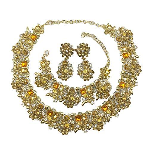 NABROJ Choker de Cristal Women Vintage Statement Necklace Bracelet Earrings Set Tawny, Costume Jewelry for Women 1pc with Gift Box-HLN001 Tawny 3pcs Set