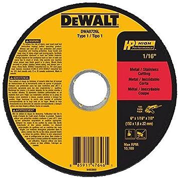 """25-Pack Dewalt DWA8726L 6/"""" x 1//16/"""" x 7//8/"""" T1 High Performance Cut-Off Wheels"""