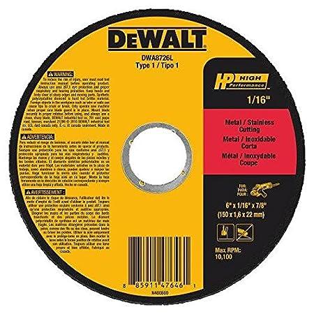 DEWALT DWA8726L T1 HP Long Life Cut-Off Wheel 6 x 1//16 x 7//8 6 x 1//16 x 7//8