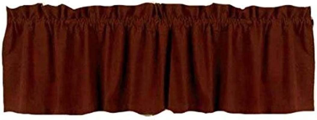 Home Collection by Raghu Farm House Solid Barn Red Valance, 72 by 15.5