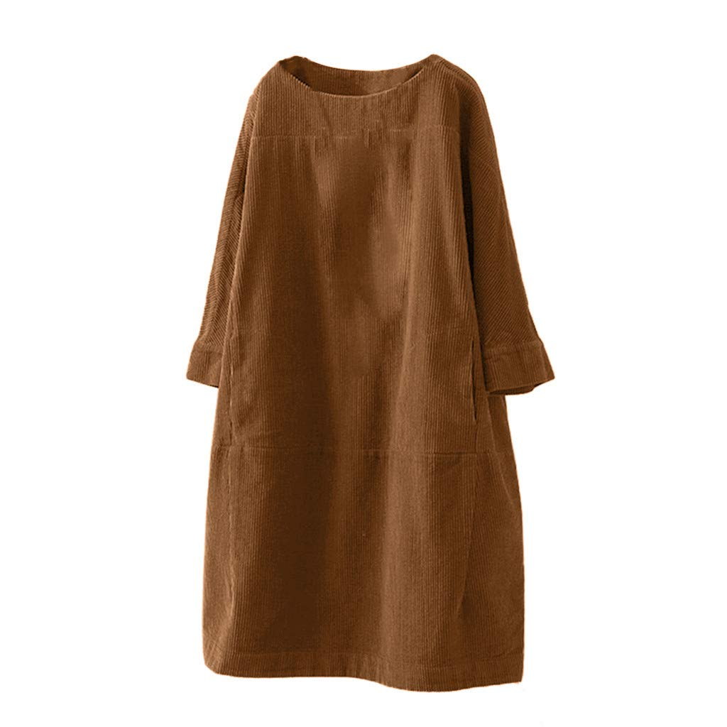 Fammison Women's Vintage Long Sleeve Corduroy Dress Pleated Dresses Solid Color Swing Dress with Pockets Brown by Fammison