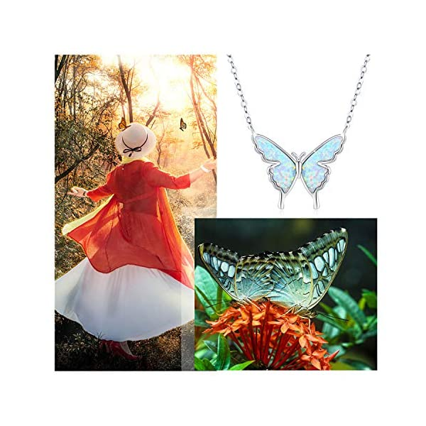 butterfly necklace opal butterfly necklace for women sterling silver dainty cute butterfly charm jewelry delicate pendant necklace birthday christmas gift for her girlfriend mom teen