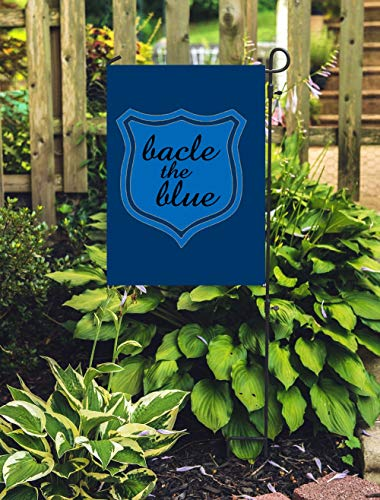COL DOM Garden Flag Custom Back The Blue Police Support Garden Flag Custom Yard Flag Police Badge Boys in Blue Support Authorities Farm Garden ()