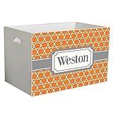 Personalized Orange Rings w Gray Childrens Nursery White Open Toy Box