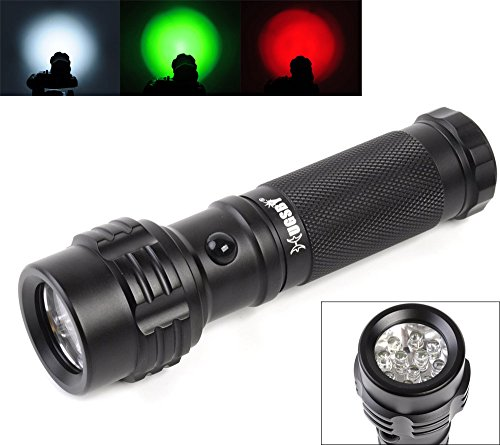Welltop® 11-LED 3 X AAA Batteries Powered Mini Pocket lights White Green Red Tri-Color Flashlights 3-mode Trichrome LED Flashlight Road Signal Torch 11 LED Flashlight Penlight - Light Green Lenses