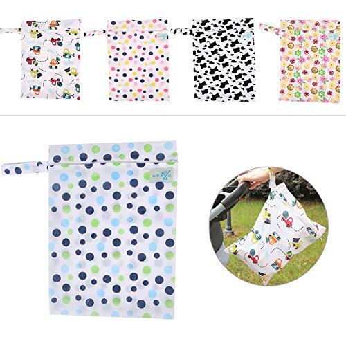 Tangc Baby Waterproof Nappy Storage Bag Diaper Bag Washable Nappy Dry Wet Cloth (4#)