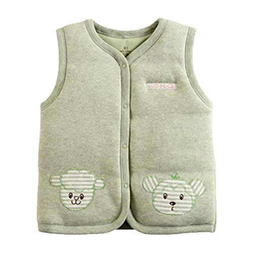 Monvecle Baby Cotton Warm Vests Unisex Infant to Toddler Padded Waistcoat Green 9-12M by Monvecle