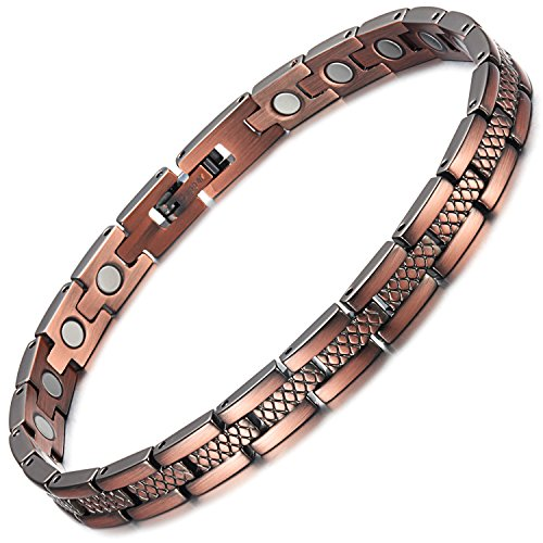 Rainso Womens Magnetic Copper Bracelets for Arthritis Wristband Adjustable