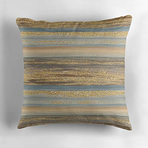 Jidmerrnm Brown Slate Blue Gray Faux Gold Glitter Stripes Pattern DIY Square Cotton Cushion Cover Throw Pillow Case Slipover Pillowslip for Home Sofa Couch Chair Back Seat 18x18 Inch
