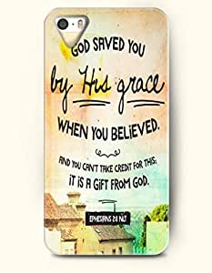 iPhone 5 5S Case OOFIT Phone Hard Case ** NEW ** Case with Design God Saved You By His Grace When You Believed. And You Can'T Take Credit For This;It Is A Gift From God. Ephesirns 2:8 Nlt- Bible Verses - Case for Apple iPhone 5/5s