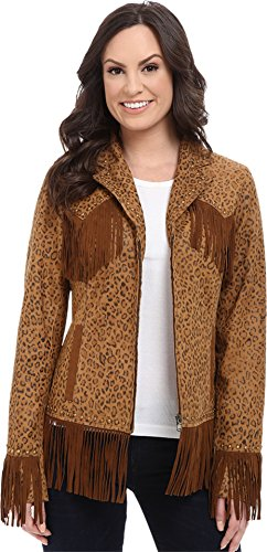 Scully Women's Fringe Leopard Print Lamb Suede Jacket Brown Large