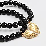 Jane Stone Best Friends Forever 2 Pcs Stretch Black Beads Bracelets Gold Tone Heart Pendant Jewelry(B0460)